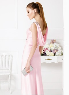 Sheath/Column Square Neckline Floor-Length Satin Chiffon Evening Dress With Ruffle Beading