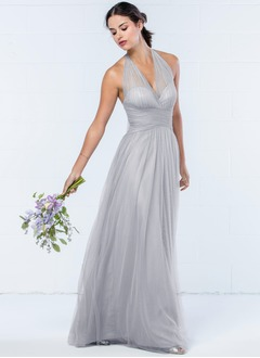A-Line/Princess Halter V-neck Floor-Length Tulle Bridesmaid Dress