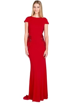 Sheath/Column Scoop Neck Sweep Train Jersey Evening Dress With Appliques Lace