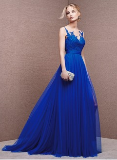 A-Line/Princess Scoop Neck Sweep Train Tulle Evening Dress With Appliques Lace