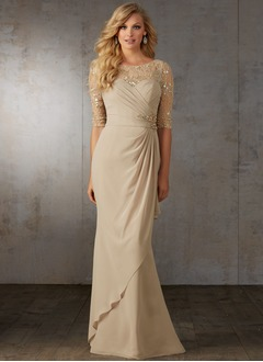 Trumpet/Mermaid Scoop Neck Sweep Train Chiffon Mother of the Bride Dress With Ruffle Lace Beading (0085119067)