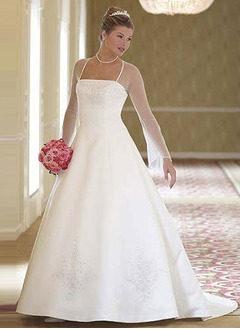A-Line/Princess Square Neckline Chapel Train Satin Tulle Wedding Dress With Embroidered