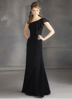 Sheath/Column One-Shoulder Floor-Length Chiffon Bridesmaid Dress With Cascading Ruffles