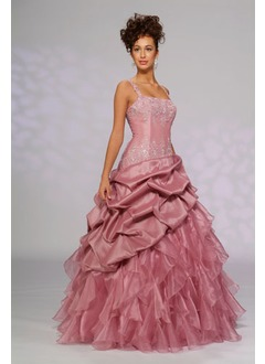 Ball-Gown Square Neckline Floor-Length Taffeta Organza Quinceanera Dress With Beading Cascading Ruffles