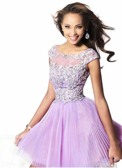 A-Line/Princess Off-the-Shoulder Short/Mini Tulle Charmeuse Homecoming Dress With Ruffle Beading Sequins