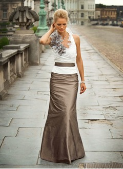 Trumpet/Mermaid Halter Floor-Length Taffeta Mother of the Bride Dress With Ruffle Flower(s) (0085095773)
