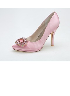 Women's Satin Stiletto Heel Closed Toe Pumps With Buckle  ...