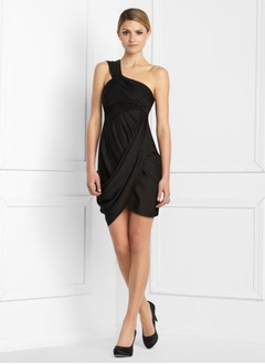Jakke One-Shoulder Asymmetrisk Charmeuse Cocktailkjole med Flæsekanter