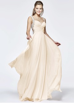 A-Line/Princess V-neck Court Train 30D Chiffon Evening Dress With Ruffle Beading