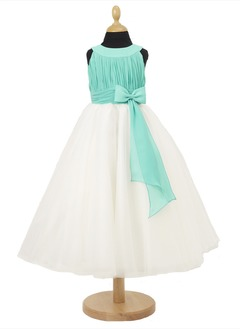A-Line/Princess Scoop Neck Floor-Length Chiffon Satin Flower Girl Dress With Ruffle Bow(s)