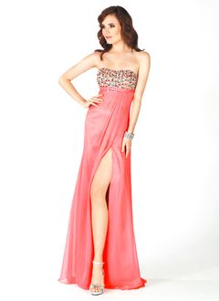 Empire Strapless Sweetheart Floor-Length Chiffon Prom Dress With Beading Sequins Split Front
