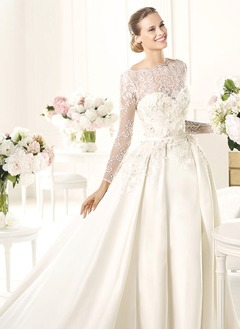 A-Line/Princess Scoop Neck Cathedral Train Satin Wedding Dress With Lace Beading