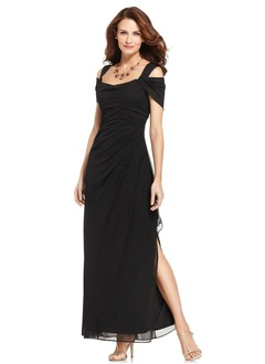 Sheath/Column V-neck Floor-Length Chiffon Charmeuse Homecoming Dress With Ruffle