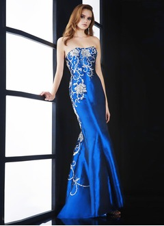 Trumpet/Mermaid Strapless Sweetheart Sweep Train Taffeta Evening Dress With Beading Appliques Lace