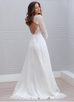 A-Line/Princess V-neck Sweep Train Chiffon Wedding Dress With Lace