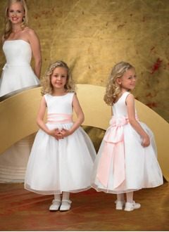 A-Line/Princess Scoop Neck Ankle-Length Organza Satin Flower Girl Dress With Ruffle Sash