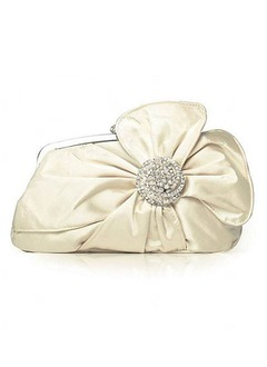 Elegant Silk With Flower/Rhinestone Clutches