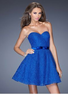 A-Line/Princess Strapless Sweetheart Short/Mini Lace Prom Dress