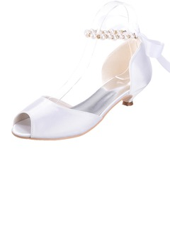 Women's Satin Kitten Heel Peep Toe Sandals With Imitation  ...