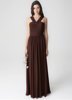 A-Line/Princess V-neck Floor-Length Chiffon Bridesmaid Dress With Pleated (0075119685)