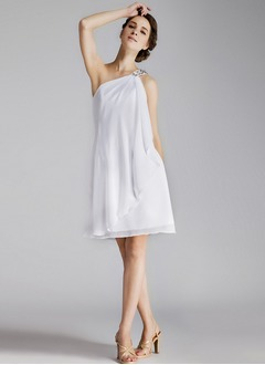 A-Line/Princess One-Shoulder Knee-Length Chiffon Bridesmaid Dress With Beading
