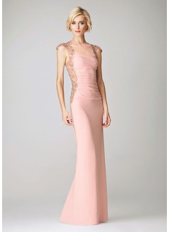 Sheath/Column Scoop Neck Floor-Length Chiffon Tulle Evening Dress With Ruffle Beading