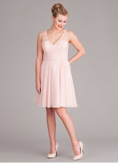 A-Line/Princess V-neck Knee-Length Chiffon Bridesmaid Dress With Lace