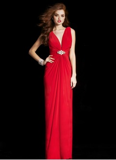 Sheath/Column V-neck Floor-Length Chiffon Evening Dress With Ruffle Crystal Brooch