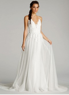 A-Line/Princess V-neck Court Train Tulle Wedding Dress With Embroidered Ruffle