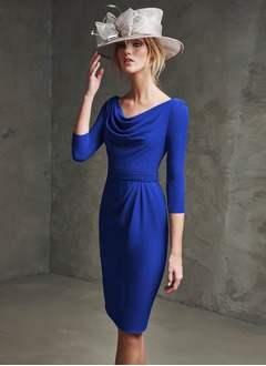 Sheath/Column Cowl Neck Knee-Length Chiffon Evening Dress