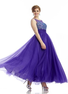 Empire Scoop Neck Floor-Length Tulle Prom Dress With Beading