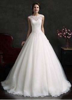Ball-Gown Scoop Neck Court Train Organza Wedding Dress With Lace Appliques Lace (0025061658)
