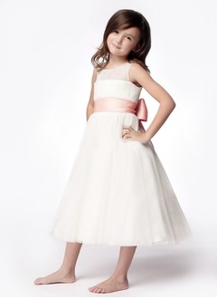 A-Line/Princess Scoop Neck Tea-Length Taffeta Organza Flower Girl Dress With Ruffle Sash Bow(s)