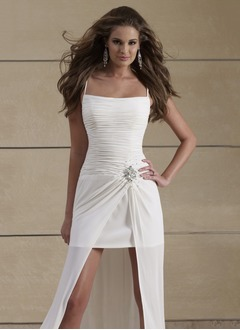 Sheath/Column Strapless Asymmetrical Chiffon Wedding Dress With Ruffle Beading
