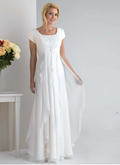 Empire Square Neckline Floor-Length Chiffon Mother of the Bride Dress With Ruffle