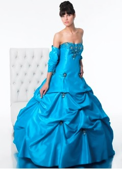 Ball-Gown Strapless Sweetheart Floor-Length Taffeta Quinceanera Dress With Beading