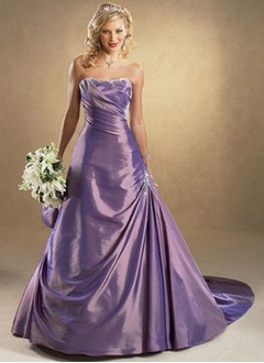 A-Line/Princess Strapless Sweetheart Court Train Taffeta Wedding Dress With Ruffle Beading