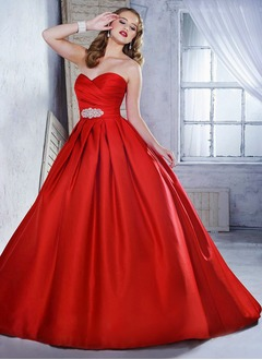 Ball-Gown Strapless Sweetheart Chapel Train Satin Evening Dress With Ruffle Crystal Brooch