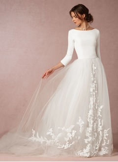 A-Line/Princess Scoop Neck Sweep Train Tulle Jersey Wedding Dress With Appliques Lace (0025088662)