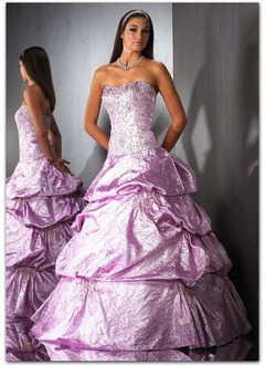 Ball-Gown Sweetheart Floor-Length Taffeta Quinceanera Dress With Embroidered Ruffle Beading