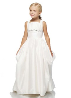 A-Line/Princess Scoop Neck Floor-Length Taffeta Flower Girl Dress With Ruffle Beading