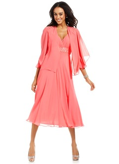 Empire V-neck Tea-Length Chiffon Mother of the Bride Dress With Beading