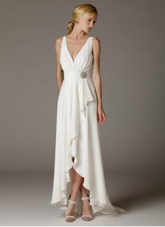 A-Line/Princess V-neck Asymmetrical Chiffon Wedding Dress With Crystal Brooch