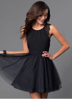 A-Line/Princess Scoop Neck Short/Mini Chiffon Tulle Homecoming Dress With Lace