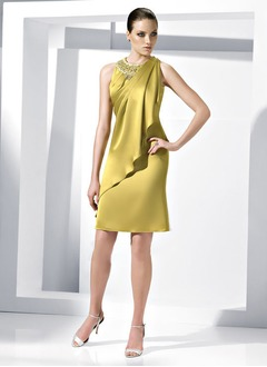 Sheath/Column Scoop Neck Knee-Length Satin Chiffon Evening Dress With Beading