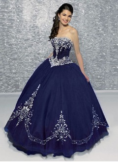 Ball-Gown Sweetheart Floor-Length Organza Quinceanera Dress With Embroidered Beading (02105024471)
