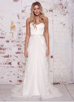 Sheath/Column Strapless Sweetheart Court Train Chiffon Satin Wedding Dress With Ruffle