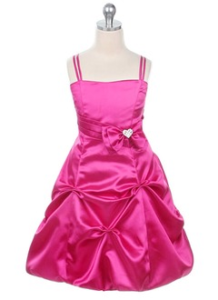 A-Line/Princess Sweetheart Tea-Length Satin Flower Girl Dress With Ruffle Beading Bow(s)
