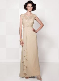 A-Line/Princess Scoop Neck Floor-Length Chiffon Lace Mother of the Bride Dress With Ruffle Lace Beading