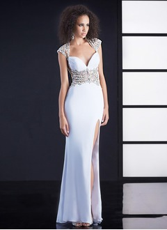 Sheath/Column Sweetheart Court Train Chiffon Evening Dress With Beading Split Front